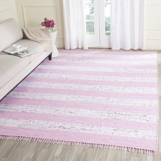Safavieh Hand-Woven Montauk Ivory/ Light Pink Cotton Rug (5' x 7')