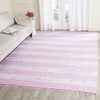 Safavieh Hand-Woven Montauk Ivory/ Light Pink Cotton Rug - 5' x 7'