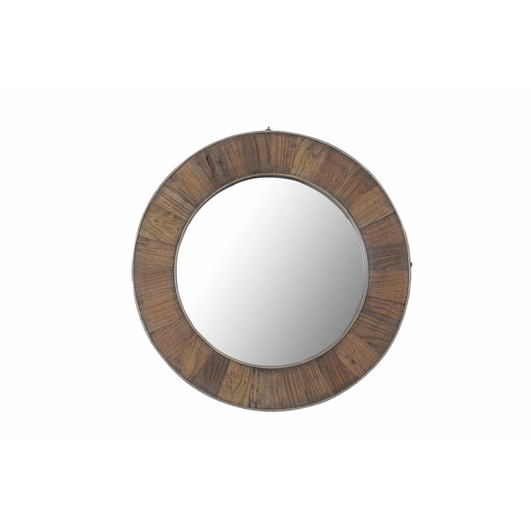 27 In X 27 In Rustic Mother Of Pearl Wall Decor 41121: Shop Sunjoy Recycled Fir Wood Wide Border 27-inch Round
