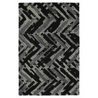 Hand-Tufted Mi Casa Black Zig-Zag Rug - 9' x 12'
