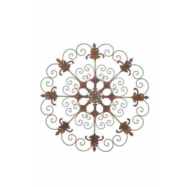 Sunjoy garden crest metal 33 inch laser cut wall decor free shipping today - Crest home design curtains ...