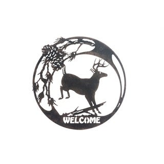 Sunjoy Deer Black Metal 19-inch Laser Cut Wall Decor