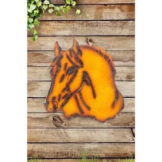 Sunjoy Horse Rust Metal 25-inch Laser Cut Wall Decor