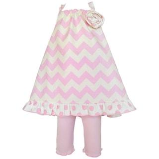 AnnLoren Girl's Boutique Pink Chevron Halter Tunic and Capri Clothing Set