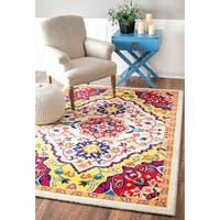 nuLOOM Vibrant Floral Centerpiece Multi Rug - 5' x 8'