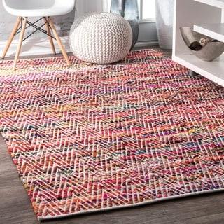 nuLOOM Handmade Flatweave Stiped Chevron Cotton Magenta Rug (8'6 x 11'6)