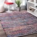 Williamsburg McGuinness Handmade Flatweave Magenta Chevron Cotton Rug (8'6 x 11'6)