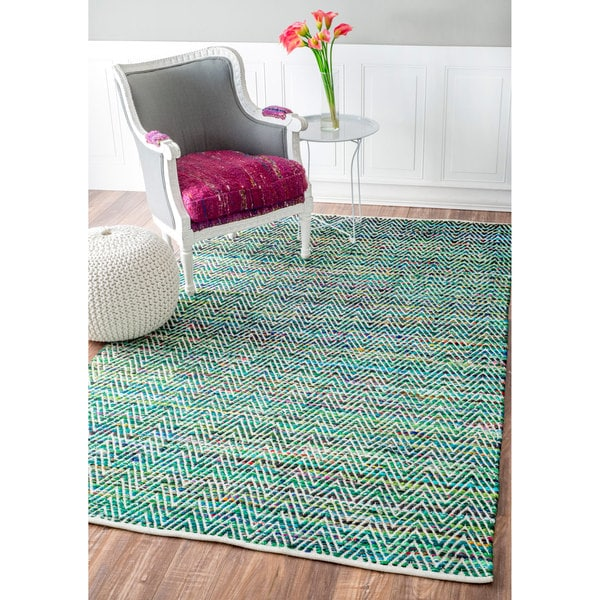 Green Flat Weave Rug: Shop NuLOOM Handmade Flatweave Stiped Chevron Cotton Green