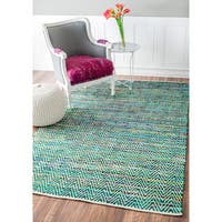 nuLOOM Handmade Flatweave Stiped Chevron Cotton Green Rug - 8'6 x 11'6