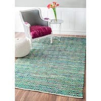 nuLOOM Handmade Flatweave Stiped Chevron Cotton Green Rug (8'6 x 11'6)