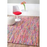 nuLOOM Multi Handmade Modern Pebbled Stripes Area Rug