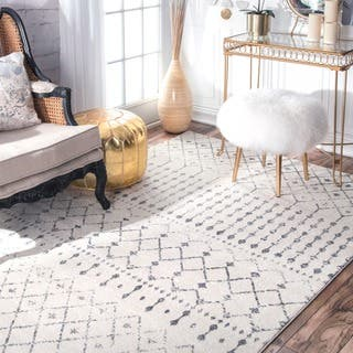 The Curated Nomad Ashbury Beaded Moroccan Trellis Ivory Rug 6 7 X