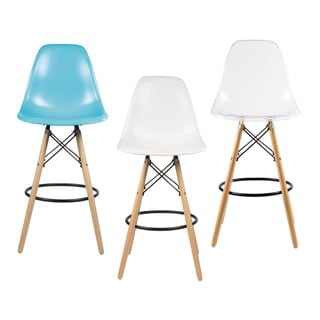 Retro Eames Style 26-inch Counter Bar Stool with Oak Wooden Base