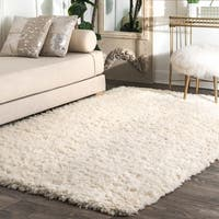 nuLOOM Handmade Soft and Plush Solid New Zealand/ Indian Wool Shag Ivory Rug (8' x 10') - 8' x 10'
