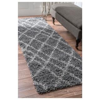 nuLOOM Alexa My Soft and Plush Moroccan Trellis Grey Easy Shag Runner Rug (2'8 x 8')