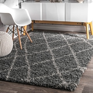 nuLOOM Alexa My Soft and Plush Moroccan Trellis Grey Easy Shag Rug (6'7 x 9')
