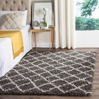 Safavieh Dallas Shag Dark Grey/ Ivory Trellis Rug - 5'1 x 7'6