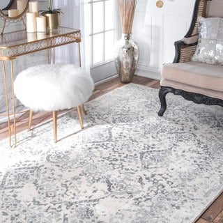 Maison Rouge Gibran Vintage Floral Ornament Ivory and Grey Rug - 6'7 x 9'