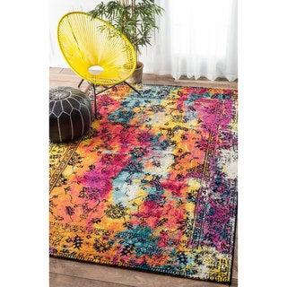 nuLOOM Vintage Vibrant Watercolor Floral Multi Rug (4' x 6')