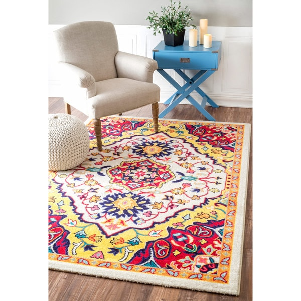 nuLOOM Vibrant Floral Centerpiece Multi Rug - 4' x 6'