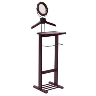 Winsome Valet Stand with Mirror Open Base Dark Espresso Finish