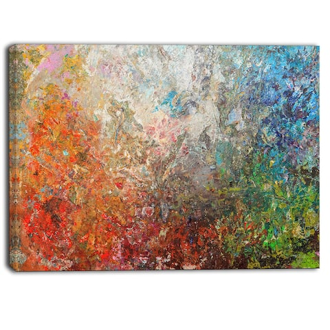 Designart - Board Stained Abstract Art - Abstract Canvas Art Print - Orange