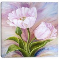 Designart - White Tulips - Floral Canvas Art Print
