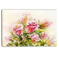 Designart - Rose Oil Painting - Floral Canvas Art Print - Pink