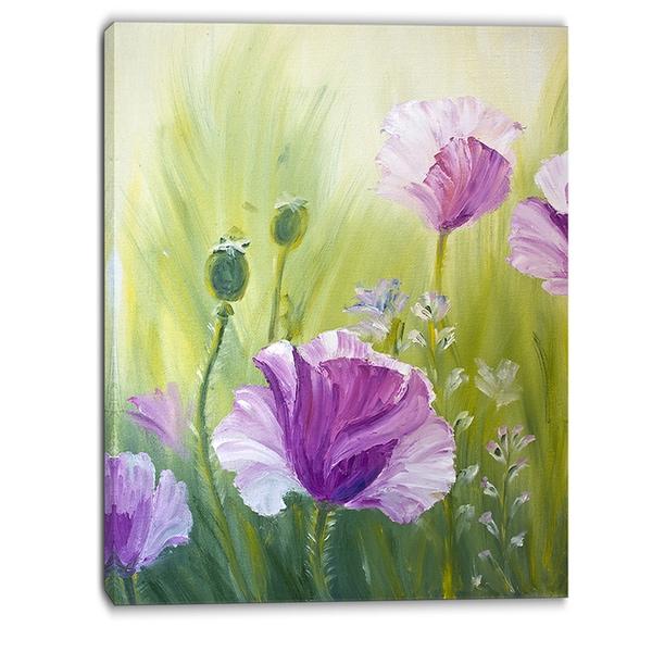 designart purple poppies in morning floral canvas art print