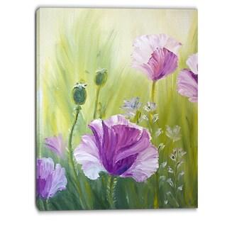 Designart - Purple Poppies in Morning - Floral Canvas Art Print