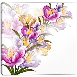 Designart - Vector Purple Flowers - Floral Canvas Art Print