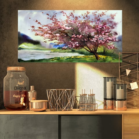 Designart - Tree with Spring Flowers - Floral Canvas Art Print - Pink