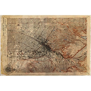 Maxwell Dickson 'Historical Map of L.A.' Modern Canvas Wall Art
