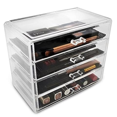 Sorbus Clear Acrylic Large Makeup and Jewelry 4-drawer Storage Display Case