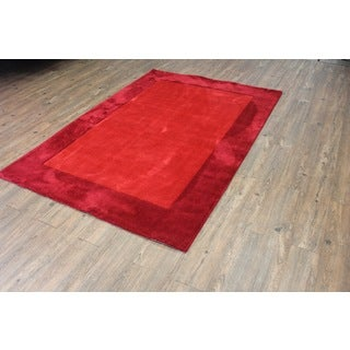 Tone-on-tone Solid Red Area Rug (5' x 7')