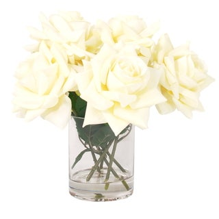 Creative Displays 12-inch Fully Bloomed White Rose Bouquet In Acrylic Water Vase