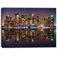 Designart - City of Manhattan Panorama - Cityscape Photo Canvas Print - Purple