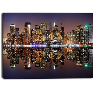 Designart - City of Manhattan Panorama - Cityscape Photo Canvas Print - Purple