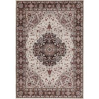 "Traditional Brown Floral Indoor Area Rug (5'3 x 7'3) - 5'3"" x 7'3"""