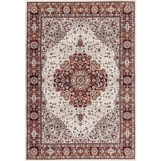 Traditional Red Floral Indoor Area Rug (5'3 x 7'3)