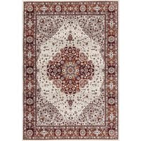 "Traditional Red Floral Indoor Area Rug (5'3 x 7'3) - 5'3"" x 7'3"""