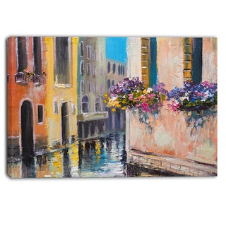 Designart - Canal in Venice with Flowers - Cityscape Canvas Art Print