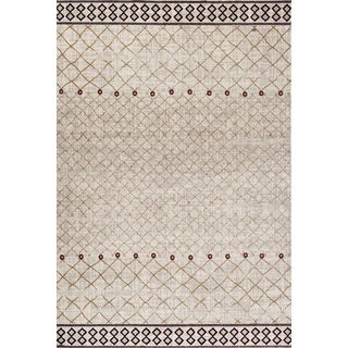 Modern Cream Red Geometric Indoor Area Rug (5'3 x 7'3)