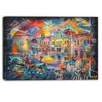Designart - Night City with People - Cityscape Canvas Artwork - Blue
