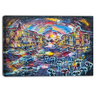 Designart - Surreal City at Night - Cityscape Large Canvas Artwork