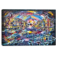 Designart - Surreal City at Night - Cityscape Large Canvas Artwork - Blue