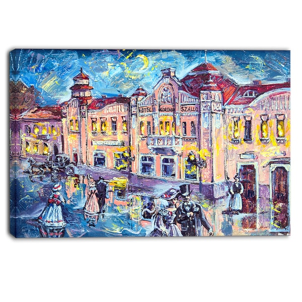 Designart - City at Night with People - Cityscape Canvas Print - Blue