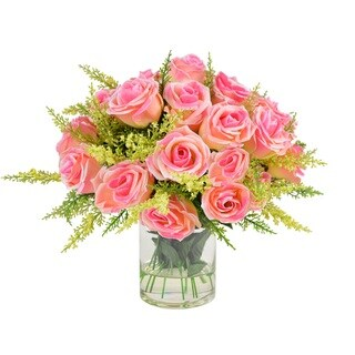Creative Displays 11-inch Pink Rose Bouquet In Acrylic Water Vase