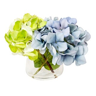 Creative Displays Blue and Green Hydrangeas In Acrylic Water Vase