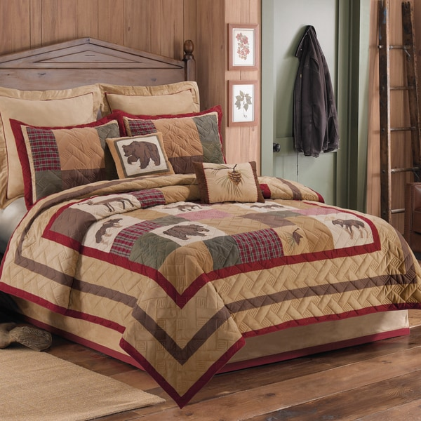 Big Sky Lodge Themed Pieced and Embroidered Standard Sham